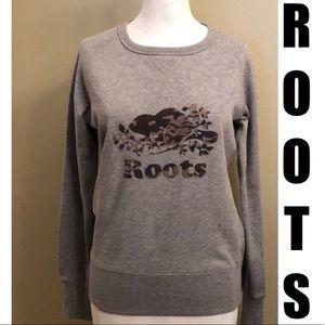 EUC-Roots-Sweatshirt&Tote-Wmn-Camo Logo-Gray-Sz xs